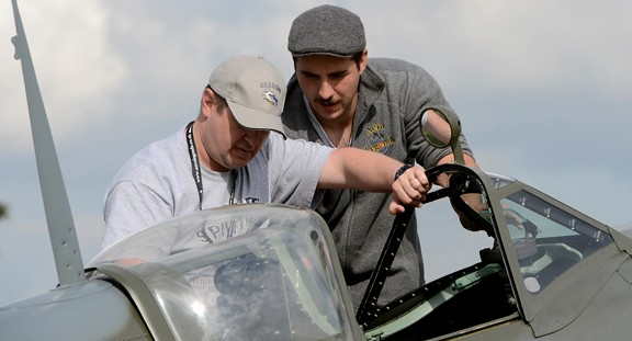 Getting In The Spitfire. Richard Foord Photography Copyright